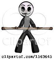 Black Little Anarchist Hacker Man Bo Staff Kung Fu Defense Pose