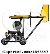 Black Little Anarchist Hacker Man In Ultralight Aircraft Side View