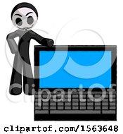 Black Little Anarchist Hacker Man Beside Large Laptop Computer Leaning Against It