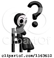Black Little Anarchist Hacker Man Question Mark Concept Sitting On Chair Thinking