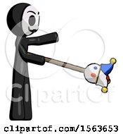 Black Little Anarchist Hacker Man Holding Jesterstaff I Dub Thee Foolish Concept
