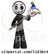 Black Little Anarchist Hacker Man Holding Jester Diagonally
