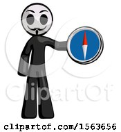 Black Little Anarchist Hacker Man Holding A Large Compass
