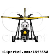 Black Little Anarchist Hacker Man In Ultralight Aircraft Front View