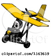 Black Little Anarchist Hacker Man In Ultralight Aircraft Top Side View