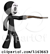 Black Little Anarchist Hacker Man Pointing With Hiking Stick