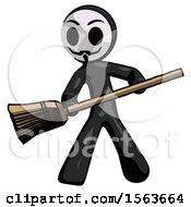 Black Little Anarchist Hacker Man Broom Fighter Defense Pose
