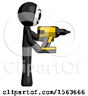 Black Little Anarchist Hacker Man Using Drill Drilling Something On Right Side