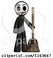 Black Little Anarchist Hacker Man Standing With Broom Cleaning Services