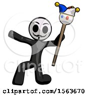 Black Little Anarchist Hacker Man Holding Jester Staff Posing Charismatically