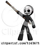 Black Little Anarchist Hacker Man Bo Staff Pointing Up Pose
