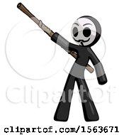 Black Little Anarchist Hacker Man Bo Staff Pointing Up Pose