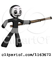 Black Little Anarchist Hacker Man Bo Staff Pointing Right Kung Fu Pose