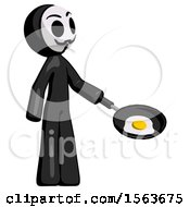 Black Little Anarchist Hacker Man Frying Egg In Pan Or Wok Facing Right