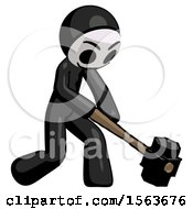 Black Little Anarchist Hacker Man Hitting With Sledgehammer Or Smashing Something At Angle