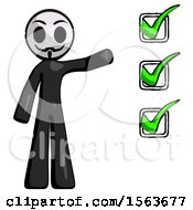 Black Little Anarchist Hacker Man Standing By List Of Checkmarks