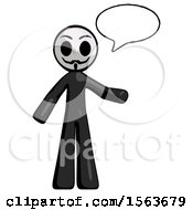 Black Little Anarchist Hacker Man With Word Bubble Talking Chat Icon