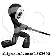 Black Little Anarchist Hacker Man With Ninja Sword Katana Slicing Or Striking Something