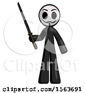 Black Little Anarchist Hacker Man Standing Up With Ninja Sword Katana