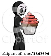 Black Little Anarchist Hacker Man Holding Large Cupcake Ready To Eat Or Serve