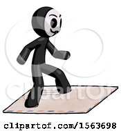 Black Little Anarchist Hacker Man On Postage Envelope Surfing