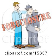 Man Comforting Another By Patting Him On The Back While Going Through A Foreclosure Clipart Illustration