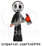 Black Little Anarchist Hacker Man Holding Red Fire Fighters Ax