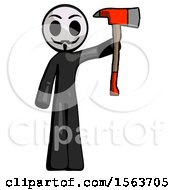 Black Little Anarchist Hacker Man Holding Up Red Firefighters Ax