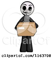 Black Little Anarchist Hacker Man Holding Box Sent Or Arriving In Mail