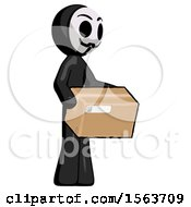 Black Little Anarchist Hacker Man Holding Package To Send Or Recieve In Mail