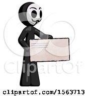 Black Little Anarchist Hacker Man Presenting Large Envelope