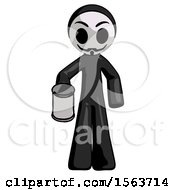 Black Little Anarchist Hacker Man Begger Holding Can Begging Or Asking For Charity