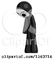 Black Little Anarchist Hacker Man Depressed With Head Down Turned Left
