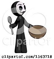 Black Little Anarchist Hacker Man With Empty Bowl And Spoon Ready To Make Something