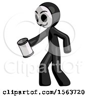 Black Little Anarchist Hacker Man Begger Holding Can Begging Or Asking For Charity Facing Left