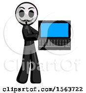 Black Little Anarchist Hacker Man Holding Laptop Computer Presenting Something On Screen