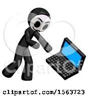 Black Little Anarchist Hacker Man Throwing Laptop Computer In Frustration