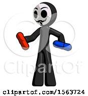 Black Little Anarchist Hacker Man Red Pill Or Blue Pill Concept
