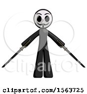 Black Little Anarchist Hacker Man Posing With Two Ninja Sword Katanas