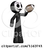 Black Little Anarchist Hacker Man Holding Football Up