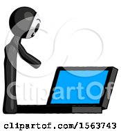Black Little Anarchist Hacker Man Using Large Laptop Computer Side Orthographic View