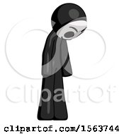 Black Little Anarchist Hacker Man Depressed With Head Down Turned Right