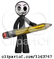 Black Little Anarchist Hacker Man Writer Or Blogger Holding Large Pencil