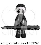 Black Little Anarchist Hacker Man Weightlifting A Giant Pen