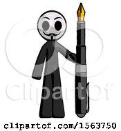 Black Little Anarchist Hacker Man Holding Giant Calligraphy Pen