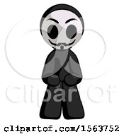 Black Little Anarchist Hacker Man Squatting Facing Front