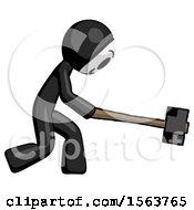 Black Little Anarchist Hacker Man Hitting With Sledgehammer Or Smashing Something