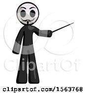 Black Little Anarchist Hacker Man Teacher Or Conductor With Stick Or Baton Directing