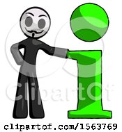 Black Little Anarchist Hacker Man With Info Symbol Leaning Up Against It