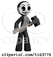 Black Little Anarchist Hacker Man With Sledgehammer Standing Ready To Work Or Defend